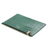GLOSS GREEN GOLD ZIP CROCODILE PRINT POUCH