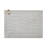 GLOSS GREY GOLD ZIP CROCODILE PRINT POUCH