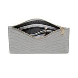 SOLD OUT - GLOSS GREY GOLD ZIP CROCODILE PRINT POUCH