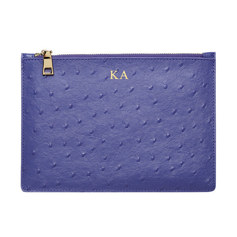 PURPLE BLUE GOLD ZIP OSTRICH POUCH