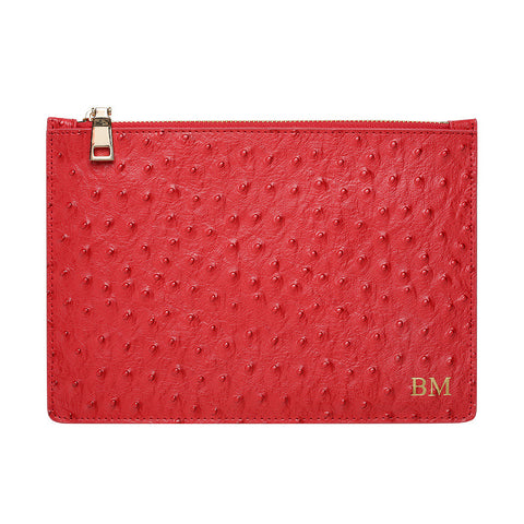 RED GOLD ZIP OSTRICH POUCH
