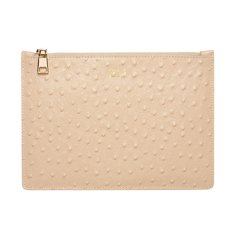 TAUPE GOLD ZIP OSTRICH POUCH