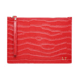 WRIST STRAP GLOSS RED GOLD ZIP CROCODILE PRINT POUCH