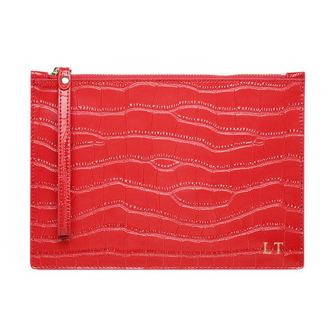 SOLD OUT - WRIST STRAP GLOSS RED GOLD ZIP CROCODILE PRINT POUCH