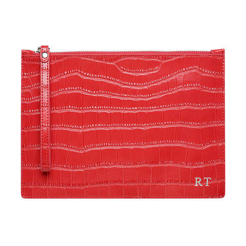 SOLD OUT - WRIST STRAP GLOSS RED SILVER ZIP CROCODILE PRINT POUCH