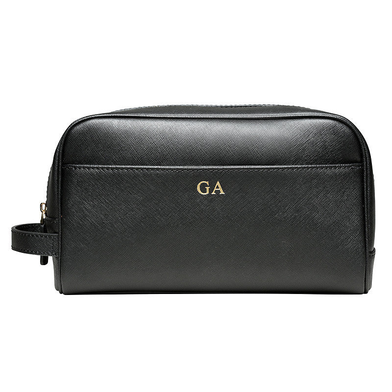 Back in Stock!  - BLACK TRAVEL / TOILETRY WASH BAG - GOLD ZIPS