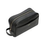 SOLD OUT  - BLACK TRAVEL / TOILETRY WASH BAG - SILVER ZIPS
