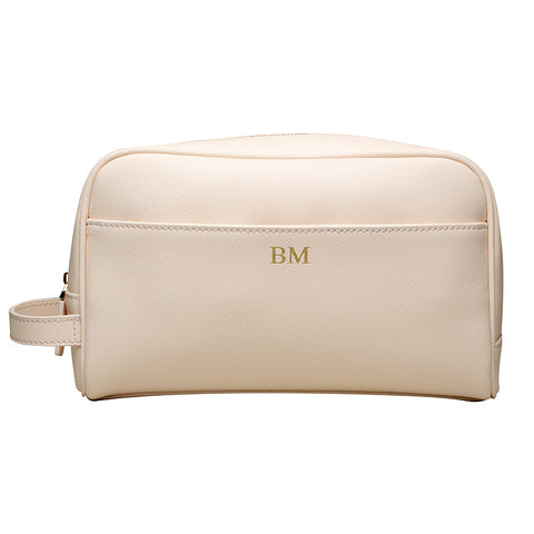 PALE PINK TRAVEL / TOILETRY WASH BAG - GOLD ZIPS