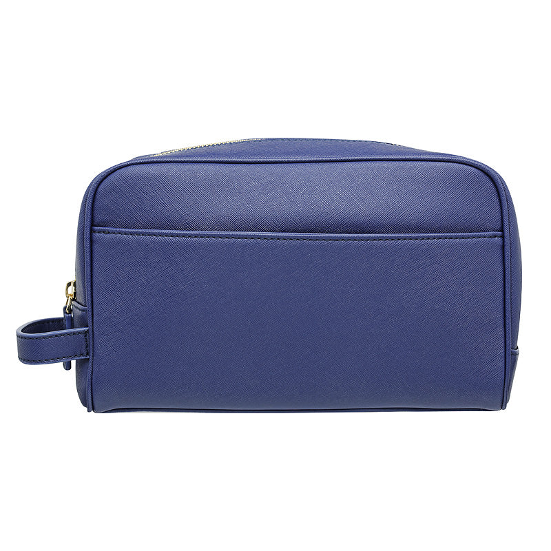 NAVY BLUE TRAVEL / TOILETRY WASH BAG - SILVER ZIPS