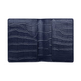 NAVY BLUE CROCODILE PRINT PASSPORT HOLDER