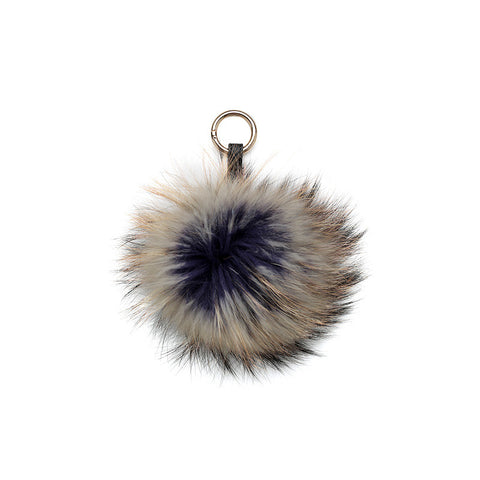 CAMEL / BLUE PURPLE INSIDE POM POM FOX FUR  KEY RING