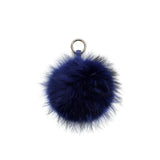 SOLD OUT - BLUE POM POM FOX FUR  KEY RING