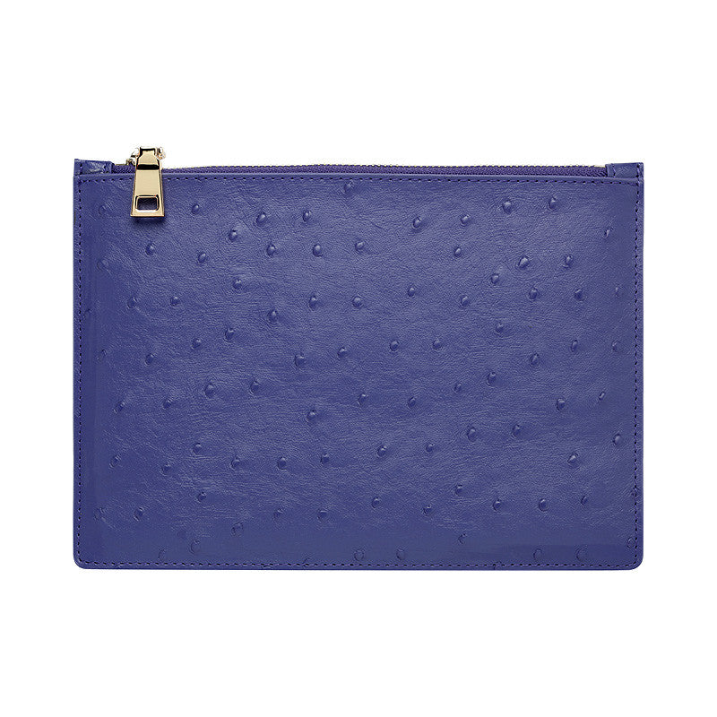 PURPLE BLUE SILVER ZIP OSTRICH POUCH