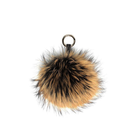 CAMEL / BLACK POM POM FOX FUR  KEY RING