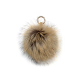 CREAM POM POM FOX FUR  KEY RING