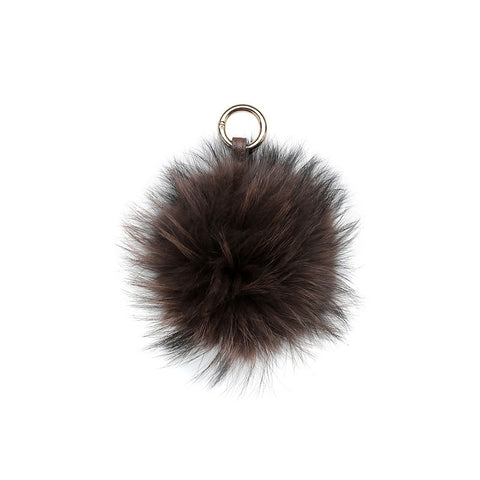 DARK BROWN POM POM FOX FUR  KEY RING