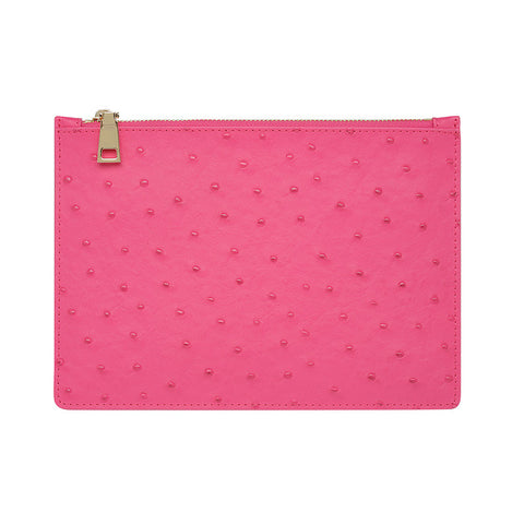 HOT PINK GOLD ZIP OSTRICH POUCH