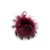 HOT PINK POM POM FOX FUR  KEY RING