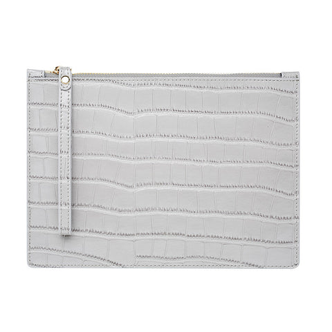 SOLD OUT - WRIST STRAP GLOSS GREY GOLD ZIP CROCODILE PRINT POUCH