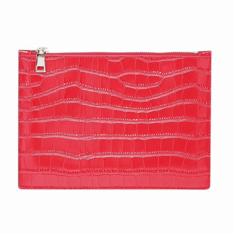 SOLD OUT - GLOSS RED SILVER ZIP CROCODILE PRINT POUCH