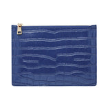 GLOSS NAVY GOLD ZIP CROCODILE PRINT POUCH