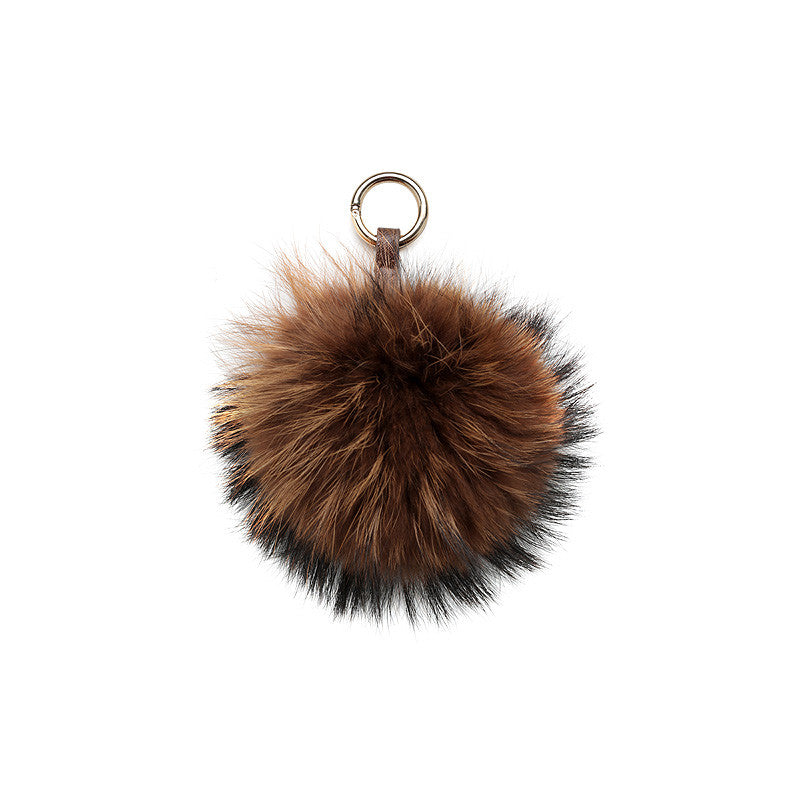 LIGHT BROWN POM POM FOX FUR KEY RING