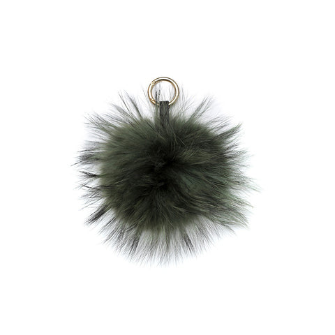 GREEN POM POM FOX FUR  KEY RING
