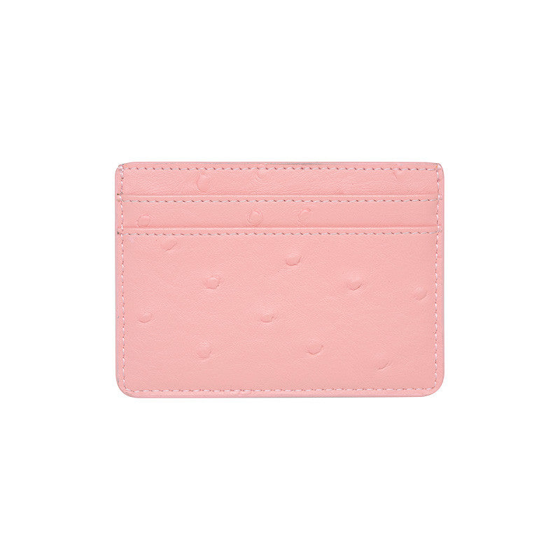 SOLD OUT - PINK 5 SLOT CARD HOLDER - OSTRICH PRINT