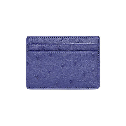 SOLD OUT - PURPLE / BLUE 5 SLOT CARD HOLDER - OSTRICH PRINT