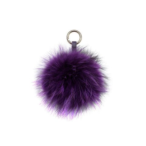 PURPLE POM POM FOX FUR  KEY RING