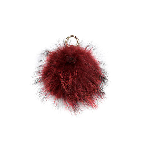 RED POM POM FOX FUR  KEY RING