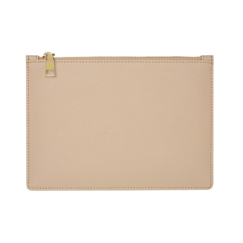 SOLD OUT - TAUPE GOLD ZIP POUCH