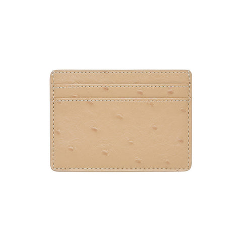 SOLD OUT - TAUPE 5 SLOT CARD HOLDER - OSTRICH PRINT