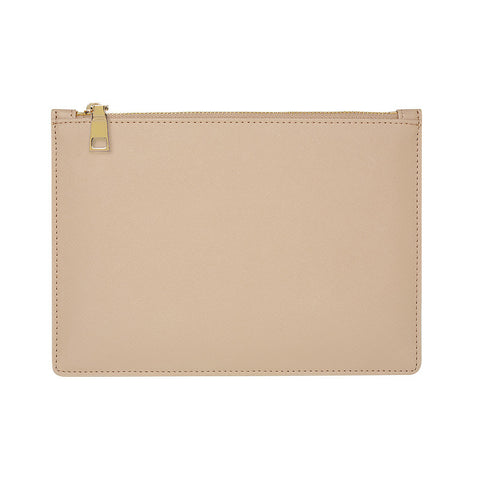 TAUPE GOLD ZIP POUCH