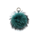 TURQUOISE POM POM FOX FUR KEY RING