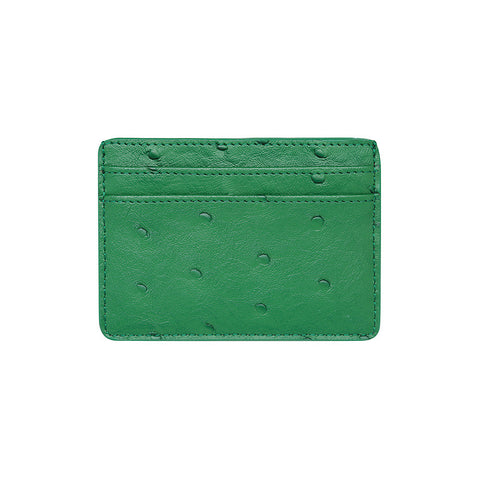 SOLD OUT - GREEN 5 SLOT CARD HOLDER - OSTRICH PRINT