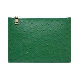 SOLD OUT - GREEN GOLD ZIP OSTRICH POUCH