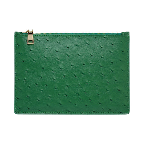 GREEN GOLD ZIP OSTRICH POUCH