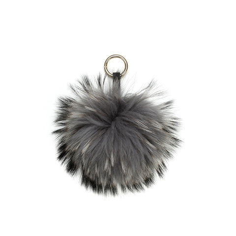 GREY POM POM FOX FUR KEY RING