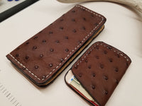 Ostrich Skin Chocolate color long wallet