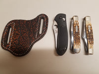 Elephant skin knife sheath cognac