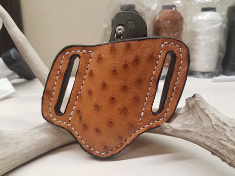 Ostrich skin knife sheath cognac