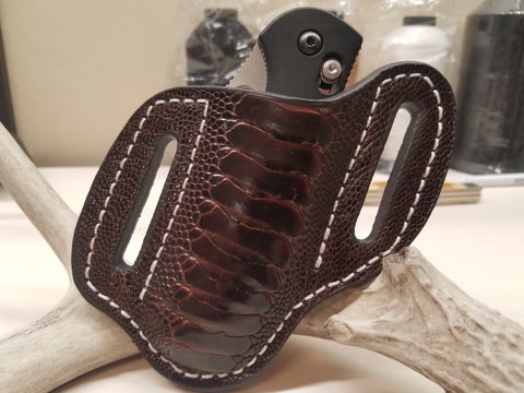 Ostrich Leg skin Large Knife Sheath Chocolate color