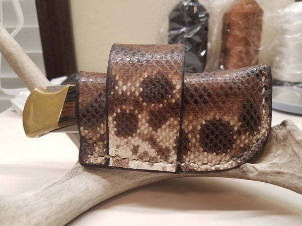 Buck 110 Knife Snake Skin side draw sheath
