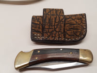 Buck 110 Knife Elephant skin side draw sheath
