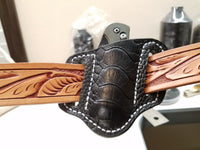 Ostrich Leg skin Small Knife Sheath Black Color