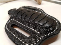 Ostrich Leg skin Large Knife Sheath Black Color