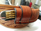 Ostrich Leg Skin Case trapper knife Cognac Color
