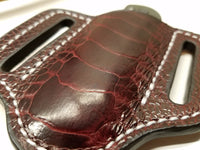 Ostrich Leg skin Small Knife Sheath Wine Color