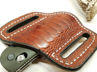 Ostrich Leg skin Small Knife Sheath Cognac color